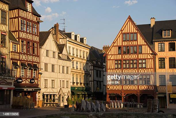 street scene with half-timbered medieval buildings. - rouen stock pictures, royalty-free photos & images