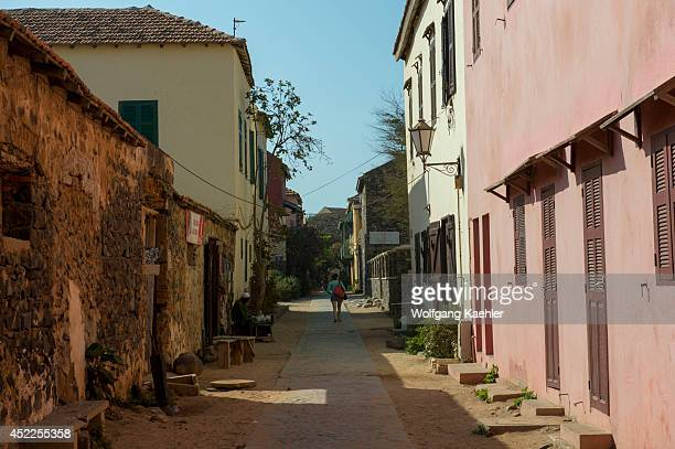 Street scene with old colonial houses on Goree Island in the Atlantic Ocean outside of Dakar in Senegal West Africa