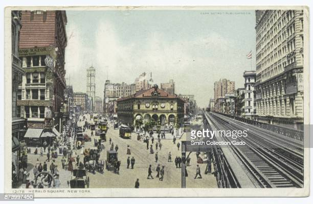 Street scene with pedestrian traffic and elevated railway track Herald Square New York City USA 1914 From the New York Public Library