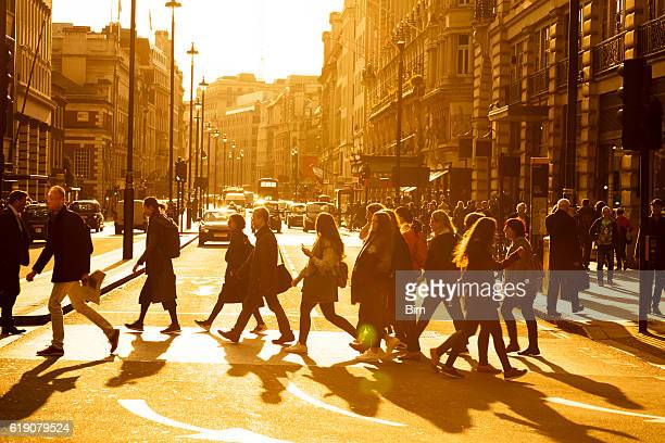 Street Scene with Pedestrians and Traffic in London, England