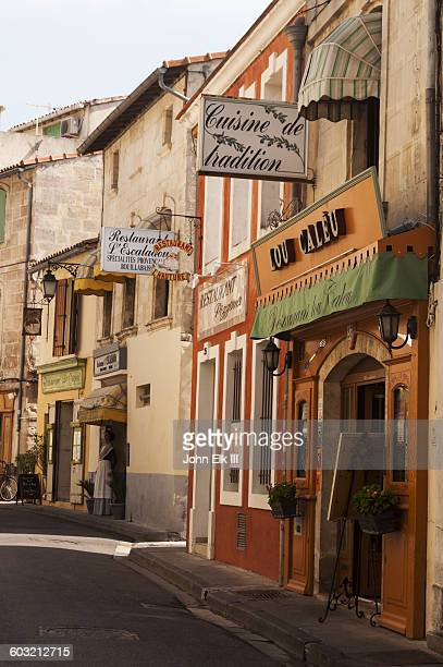 Street scene with shops in Arles, France