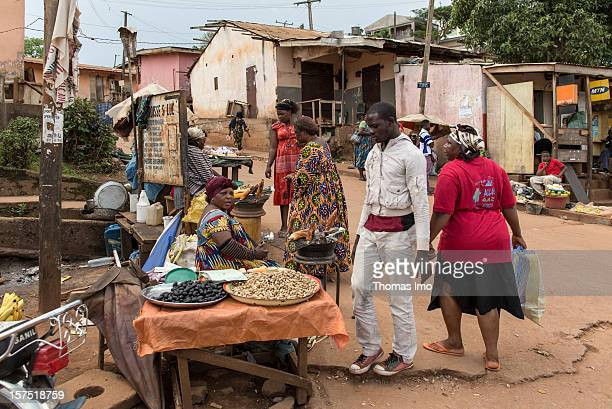 Street scene with stall holders in Yaounde, Cameroon on October 29, 2012.