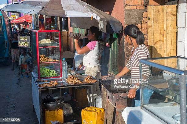Street scene with stands selling food in Antananarivo the capital city of Madagascar