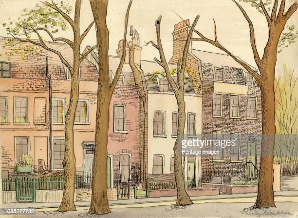 Street scene with trees circa 1950 Terraced houses in London Artist Shirley Markham