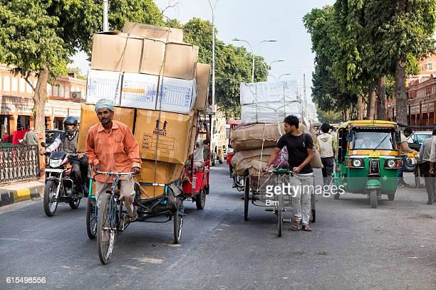 Street Scene with Tricycles,  Rickshaws, Motorcycle, Jaipur, India
