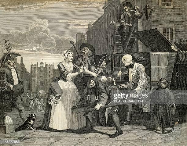 Street scenes in London by William Hogarth engraving England 18th century Paris Bibliothèque Des Arts Decoratifs