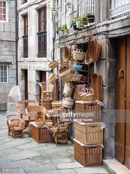 Street shop baskets and handmade wicker baskets