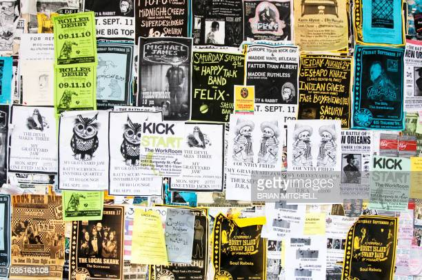 street side communal bulletin board detailing up-coming events around new orleans, louisiana, usa - bulletin board flyer stock pictures, royalty-free photos & images