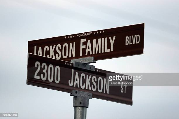 A street sign designates the street outside the former childhood home of Pop Star Michael Jackson on June 25 2009 in Gary Indiana Jackson the iconic...