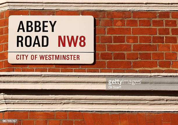 A street sign for Abbey Road in North London on which the Abbey Road recording studios stand that have been put up for sale by their owner EMI on...