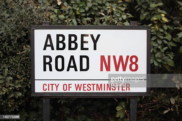 A street sign for 'Abbey Road' in St John's Wood home to Abbey Road Studios on March 5 2012 in London England Abbey Road in North London has been...