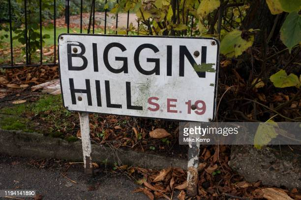 Street sign for Biggin Hill SE1 on 3rd November 2019 in London, England, United Kingdom. Biggin Hill is best known for its role during the Battle of...