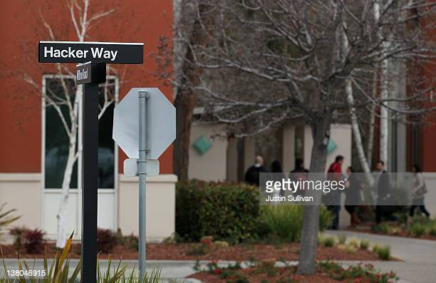 A street sign for 'Hacker Way' is stands at the Facebook headquarters on February 1 2012 in Menlo Park California Facebook is expected to file for...