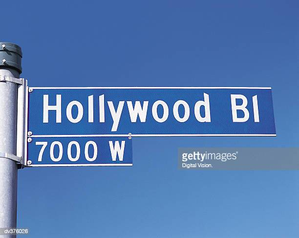 Street sign for Hollywood Boulevard, Los Angeles, California, USA