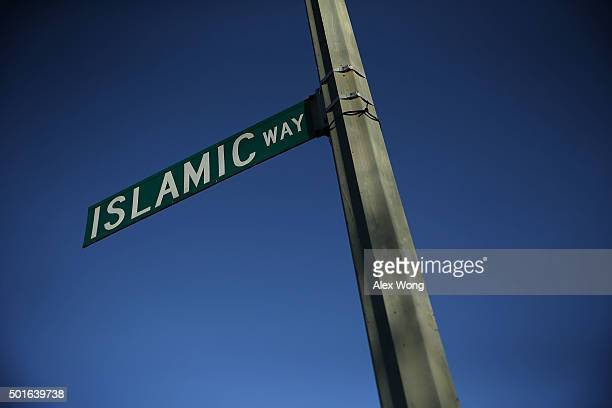 A street sign for Islamic Way is seen outside the Masjid Muhammad The Nation's Mosque piror to Democratic presidential candidate Sen Bernie Sanders'...