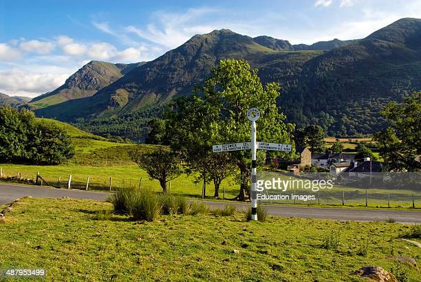 Street sign in a landscape near the village Buttermere Cumbria England