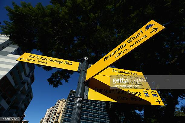 A street sign in central Parramatta on June 3 2015 in Sydney Australia Parramatta is about to become one of Australia's biggest urban renewal...