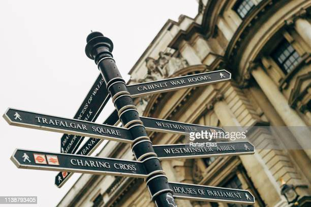 street sign in london (uk) - road sign stock pictures, royalty-free photos & images