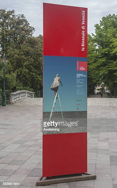 A street sign in the Giardini area announcing the 15th Architecture Venice Biennale on May 24 2016 in Venice Italy The 56th International...