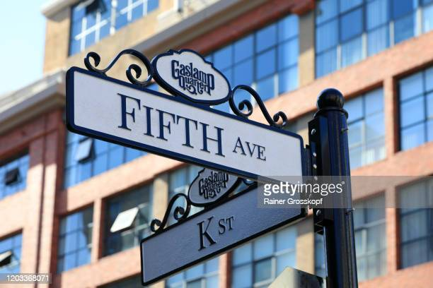 street sign in the historic gaslamp quarter in san diego - rainer grosskopf stock pictures, royalty-free photos & images