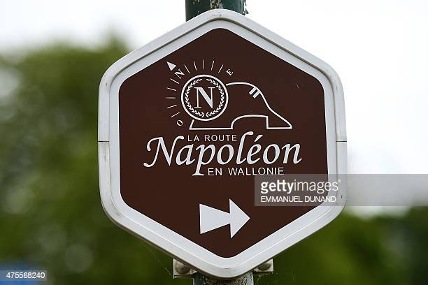 Street sign is set near La Butte du Lion , the main memorial monument of the Battle of Waterloo, set where the 1815 Battle of Waterloo occured and...