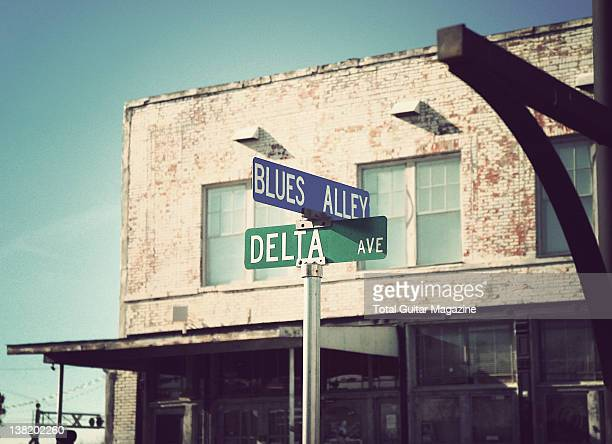 A street sign marking the crossing of Blues Alley and Delta Avenue During a shoot for Total Guitar Magazine/Future via Getty Images October 1 2010