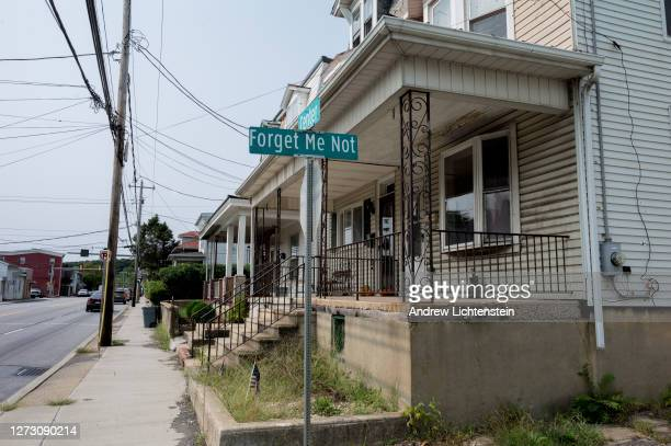 """Street sign marks """"Forget Me Not"""" street on September 15, 2020 in Schuylkill Haven, Pennsylvania. Many pollsters have labeled the state a """"swing""""..."""