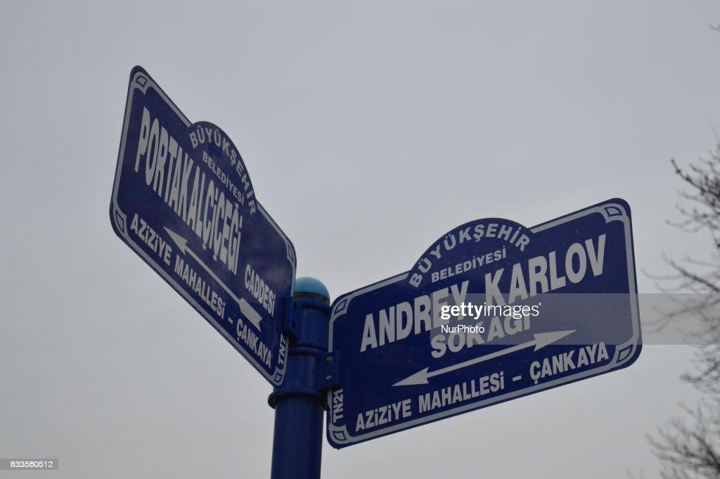 Street Sign Bears Andrei Karlov's Name in Ankara : News Photo