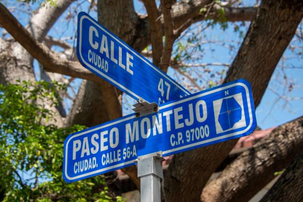 Street sign of Paseo de Montejo in Merida, Mexico