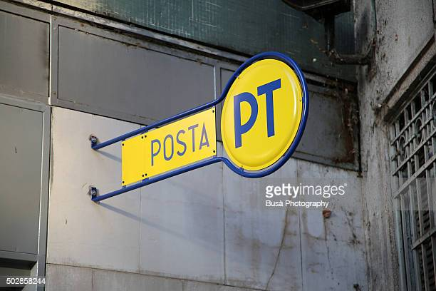 Street sign of the Italian Posts ('Poste Italiane') in the streets of Milan, Italy
