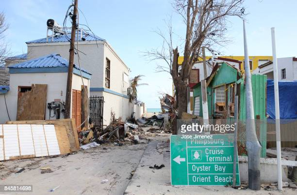 A street sign sits among the rubble on September 11 2017 in Philipsburg St Maarten The Caribbean island sustained extensive damage from Hurricane Irma