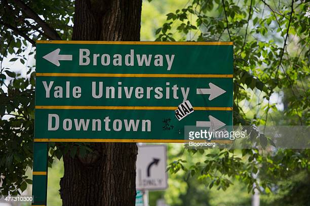 A street sign stands on the Yale University campus in New Haven Connecticut US on Friday June 12 2015 Yale University is an educational institute...