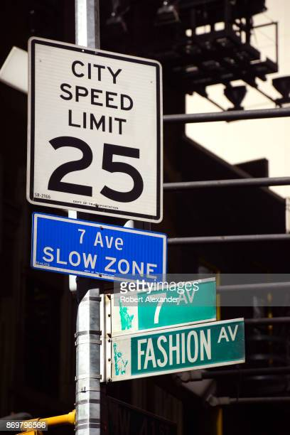 Street signs along Seventh Avenue in New York City's Garment District