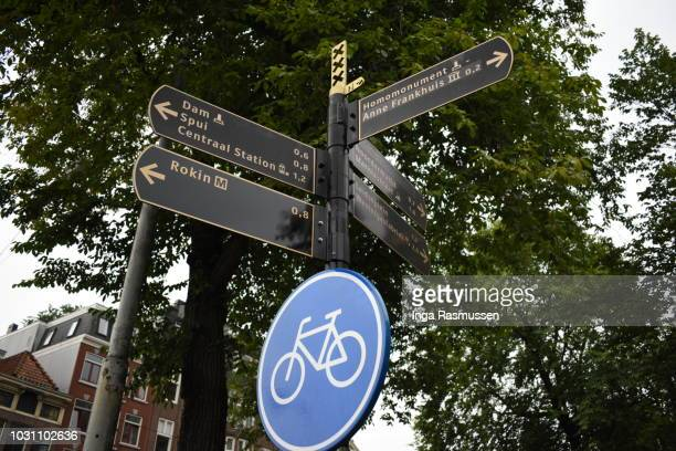 street signs, amsterdam, the netherlands - anne frank house stock pictures, royalty-free photos & images