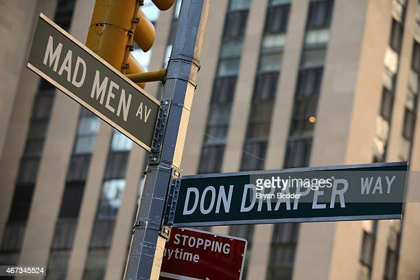 Street signs at the Mad Men art installation unveiling at Time Life Building on March 23 2015 in New York City