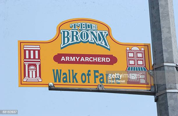 Street signs honoring Army Archerd are seen near the Bronx County Building on June 26 2005 in the Bronx borough of New York City
