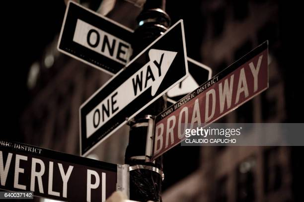 street signs in manhattan - claudio capucho stock photos and pictures