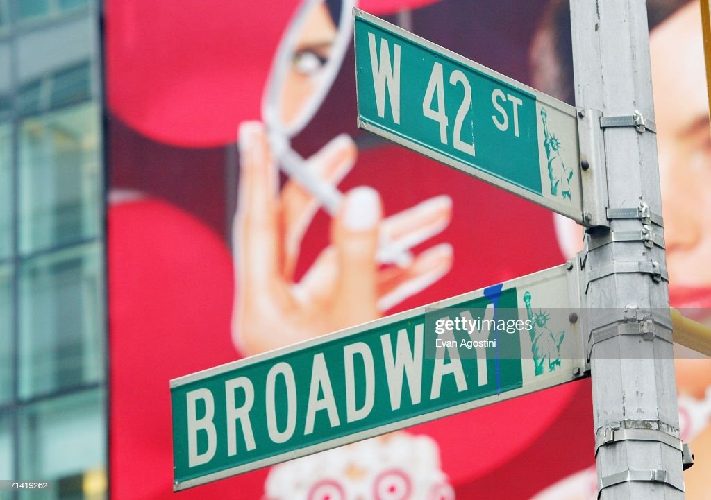 Street signs mark the intersection of 42nd street and Broadway July 11, 2006 in New Yok City.