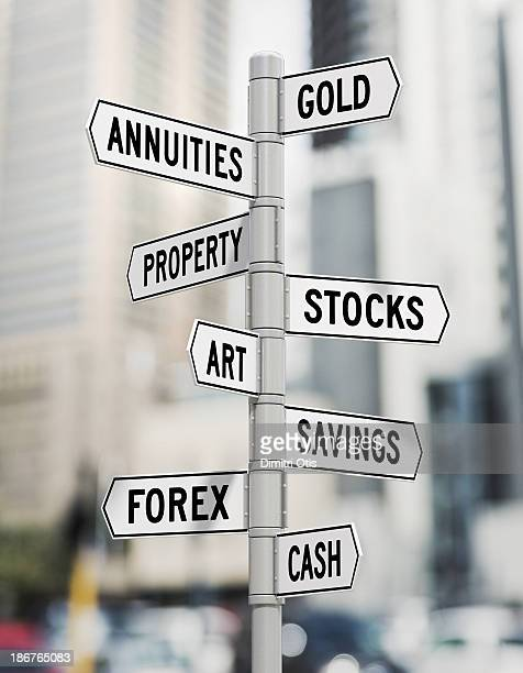 Street signs showing investment options