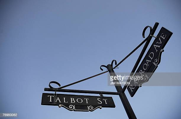 Street signs showing the cross street that leads off Talbot Street to where many of the higher priced homes are in St Michaels Maryland are seen 01...