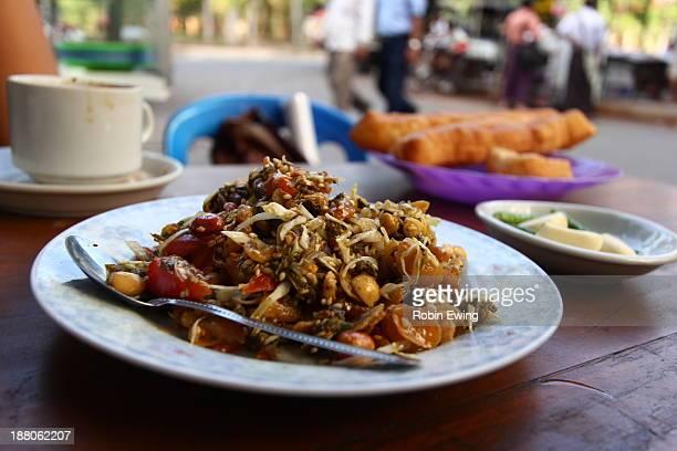 Street stall tea leaf salad in Yangon, Myanmar