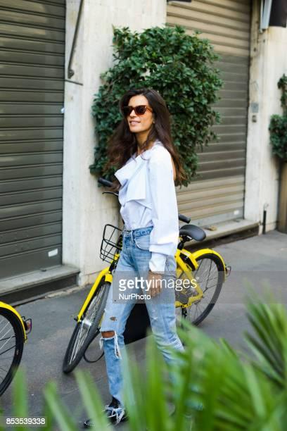 Street Style during the Milan Fashion Week in Milan Italy on September 24 2017