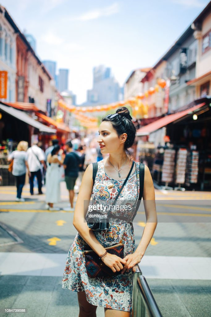 street style fashion portrait in Singapore : Stock Photo