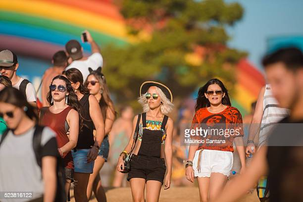 Street style of a music fan during the third day of the Tomorrowland music festival at Parque Maeda Itu on April 23 2016 in Sao Paulo Brazil