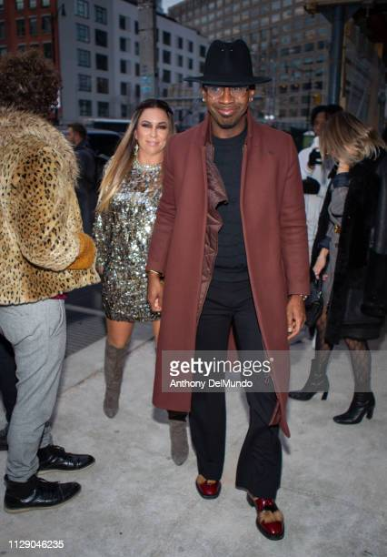 Street style of guest attending Bibhu Mohapatra fall 2019 runway show during New York Fashion Week held Spring Studios Gallery II located at 6 St...