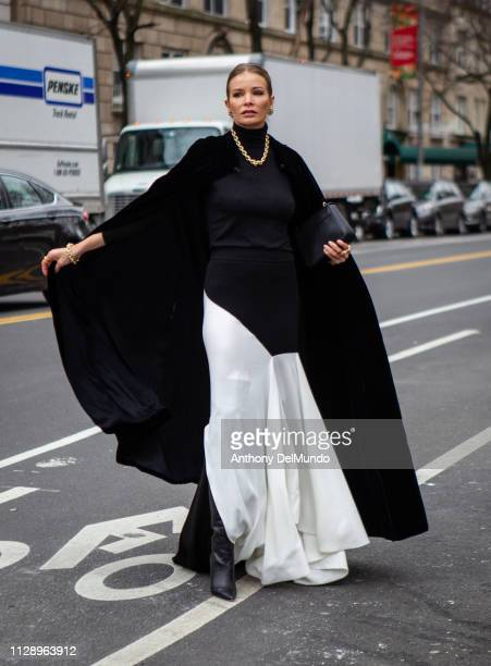 Street style of guest attending Carolina Herrera fall 2019 runway show during New York Fashion Week held at New York Historical Society 170 Central...
