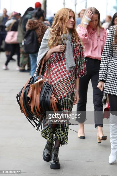 Street Style outside Alexa Chung runway show at Universal Music during London Fashion Week February 2019 on February 16 2019 in London England