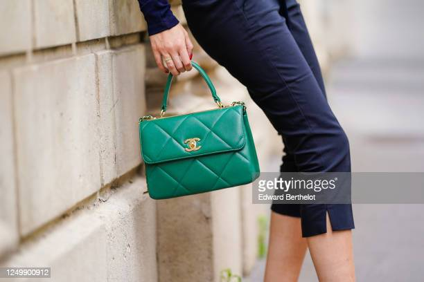 Street style photo session with Gabriella Berdugo wearing a green Chanel quilted bag, a cropped pants from Barbara Bui, on June 15, 2020 in Paris,...