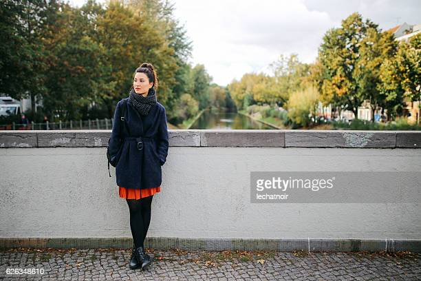 street style portrait in berlin - models in pantyhose stock photos and pictures