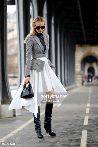 Street Style With Tatiana Korsakova At The Givenchy Show During Paris Fashion Week on March 4 2018 in Paris France